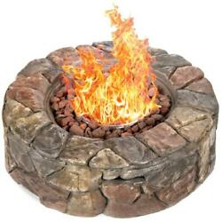 Round Propane Fire Pit Gas Firepits For Outside Outdoor Fireplace Portable Stone