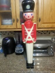 """Vintage 32"""" Lighted Christmas Nut Cracker Toy Soldier Blow Mold 1950's Hard"""