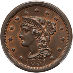 1851 N-38 R-1 Pcgs Ms 64 Rb Cac Braided Hair Large Cent Coin 1c
