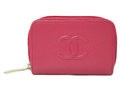 Zip Coin Purse A68890 Pink Leather Coin Case Simple Used