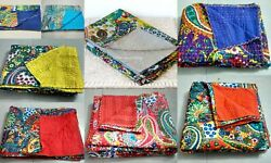 Queen-size Indian Handmade 100 Cotton Vintage Kantha Quilt Bed-cover Blanket