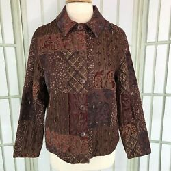 Coldwater Creek Tapestry Jacket Cardigan Size Large Burgundy Career Womens