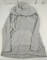 Standard James Perse Womens Striped Heathered Hoodie Grey White Stripe Size 1