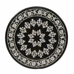 Table Inlay 36 Black Marble Pietra Dura Art Antique Marvelous Dining With Stand