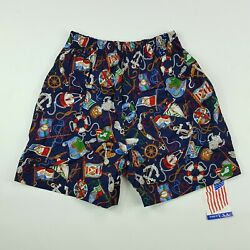 VTG 80s Men#x27;s Size Small Lounge Shorts Stretch All Over Print Sailing Nautical
