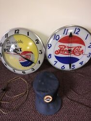 Pepsi Clocks 60andrsquos Double Bubble 40andrsquos Double Dot And 30andrsquos Delivery Hat Lot