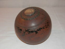 Antique 1890's Presentation Lawn Bowling Bocce Ball Wooden Monogrammed Silver