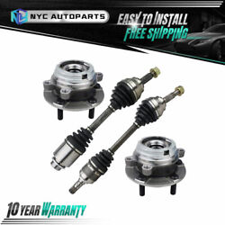 4pc Front Cv Axle And Front Wheel Hub Bearing For 2003-2006 2007 Nissan Murano Awd