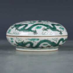 4.1 Old Chinese Porcelain Qing Dynasty Jiaqing Mark Green Color Dragon Box