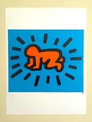 Keith Haring Estate Rare Vtg Lithograph Print Pop Art Poster Radiant Baby 1990