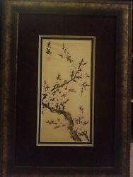 Silk Chinese Painting With Seal/flowers Framed Suzhou