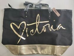 Victoria Secret Gold Black Bag 21x13 $20.00