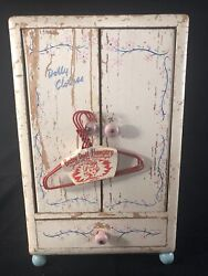 """Vintage 10"""" Dolly Clothes Armoire Wooden Doll Furniture And Midwest Hangers Co."""