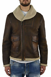 Dsquared2 Menand039s Brown Short Pockets Leather Coat - Mod. S74am0402sx7948143