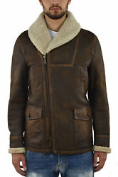 Dsquared2 Brown Men's Coat Long Leather Pockets - Mod. S74aa0044sx7948143