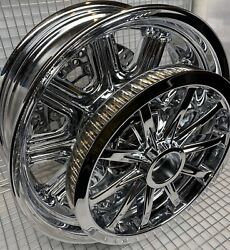 Indian Chieftain Chrome Rear Wheel Pulley And Rotor 2014 -20 Mag Rim Outright