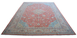8x11 Rug Vintage Hand Knotted Area Rug Low Pile Distressed Rug 7′10″ X 11′2″