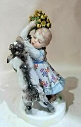 Meissen Porcelain Figurine Girl With A Goat