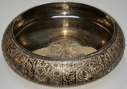 Vintage Highly Etched Silver Plate Brass Bowl Planter Dish Made In India