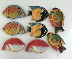 Wood Fish Coasters Hand Made And Painted Colorful New Beach Set Of 8