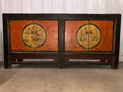 A Chinese Qing Style Cabinet Black Red Lacquer Double Doors Bird Painted Art