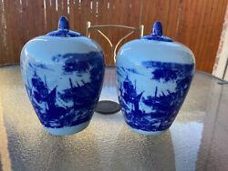 Victoria Ware Ironstone Blue And White Vase Jar Urn With Lids Rare Pair