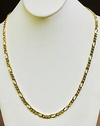 14k Solid Yellow Gold Handmade Figaro Curb Link Chain/necklace 24 38 Grams 5 Mm
