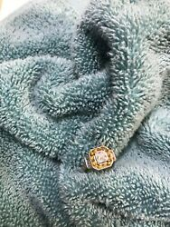 10k .99 Ct. White Gold Antique Diamond And Yellow Sapphire Ring, Size 7