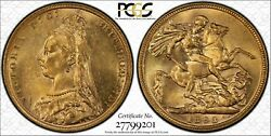 1893m Jubilee Head Sovereign In Pcgs Ms62