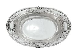Antique 925 Sterling Silver Hand Chased Floral Designed Oval Dish