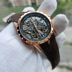 New Mens Military Watches Automatic Waterproof Rose Gold Skeleton Leather Strap
