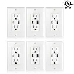 4.2a Type-c Usb Wall Outlet Charger 18w Tamper Resistant Duplex Receptacle 6pcs