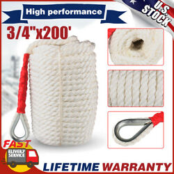 3/4x200and039 Twisted Braided Nylon Anchor Rope Boat Twisted Three Strand W/ Thimble