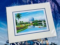 Disney Parks Epcot Spaceship Earth Larry Dotson 14x11 Matted Print