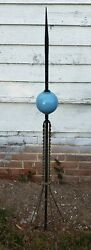 Antique Lightning Rod Twisted Iron With Glass Ball Copper Rod