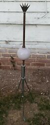 Antique Lightning Rod With Purple Glass Ball Copper Rod Deco Finial