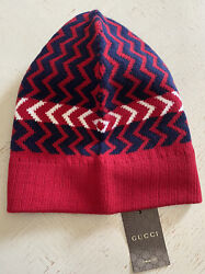 Nwt 480 Mens Wool Beanie Hat Red/black Size M Italy