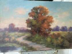 Early Antique Hudson River School Style Landscape On Canvas 1800's Pastel Hues