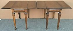 2 Lane Drop-leaf Traditional Italian Provincial Solid Wood End Side Tables