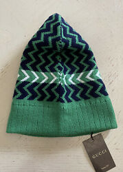 Nwt 480 Mens Wool Beanie Hat Green Size M Italy
