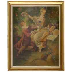 20th Century Oil On Canvas Crowned Love Italian Painting With Frame Signed