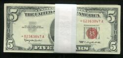 Lot Of 100 1963 5 Star Red Seal Legal Tender United States Notes Vg-vf