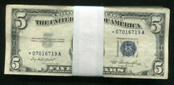 Lot Of 100 1953 5 Five Dollars Star Blue Seal Silver Certificates Vg-vf