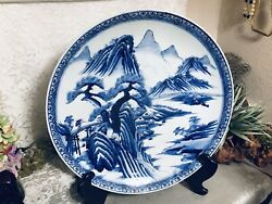 Huge 18 Japanese Blue And White Imari Plate Charger Signed Low Bowl
