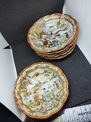 Antique Japanese Lot 6 Pc 5 Hand Painted Plates W/ Gold Accents Gasha Girls