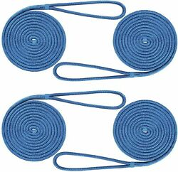 4-pack 1/2 Inch 20 Ft Double Braid Nylon Boat Dock Line Mooring Rope Anchor Line