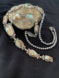 Sterling Silver Necklace Native American Navajo Royston Turquoise Lariat Set 581
