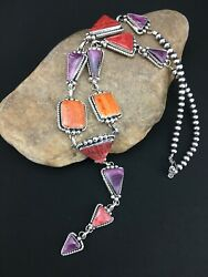 Native American Navajo Sterling Silver Spiny Oyster Lariat V Necklace 25andrdquo 4904