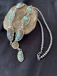 Lariat Navajo Handmade Long Sterling Silver Turquoise8 Necklace Pendant 1052