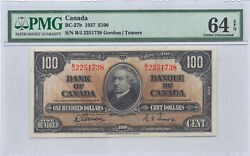 ✪ 1937 100 Bank Of Canada Note Bc-27b - Pmg - 64epq